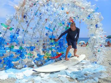 The plastic wave - Noli, Italy, during windsurf round Europe journey